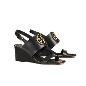 New Tory Burch Black Miller Wedge Sandals Size 8